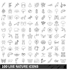 100 live nature icons set outline style vector