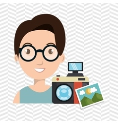 Woman photo camera graphic vector