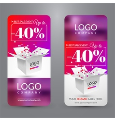 Set with banners for sale with box vector