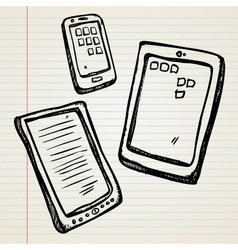 Sketches of a e-book tablet and smartphone vector image