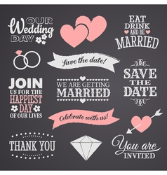 Chalkboard wedding elements set vector
