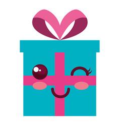 gift box present kawaii character vector image