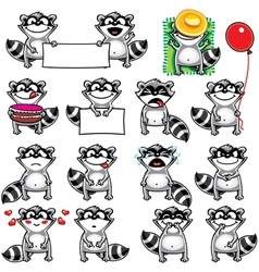 Smiley racoons vector