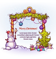 Christmas gate with snowman ant fir-tree vector