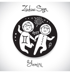 Gemini zodiac sign of horoscope circle emblem in vector image