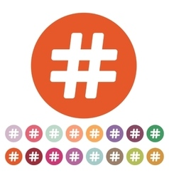 The hash icon hashtag symbol flat vector