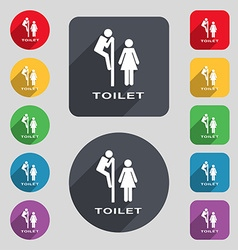 Toilet icon sign a set of 12 colored buttons and a vector