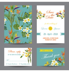 Invitation or greeting card set - tropical flowers vector