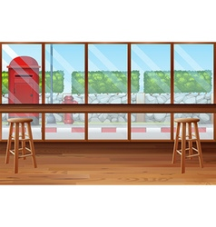 Inside of restaurant with bar and chairs vector
