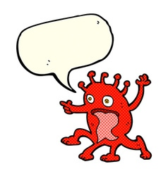 Cartoon weird little alien with speech bubble vector