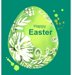 Happy easter green watercolor easter egg vector