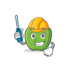 Automotive green apple character cartoon vector