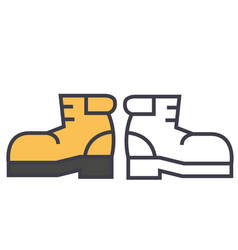 boots foorwear hiking concept line icon vector image vector image