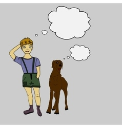 Boy and dog doodle vector