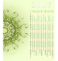 Calendar 2017 with ornament vector image