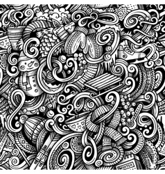 Cartoon doodles winter season trace seamless vector