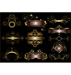 Collection of vintage gold frames vector