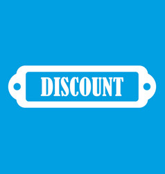 Discount label icon white vector