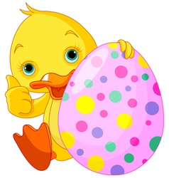Easter Duckling gives thumbs up vector image