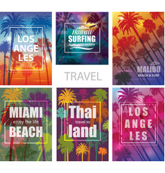 Exotic Travel Backgrounds with Palm Trees vector image