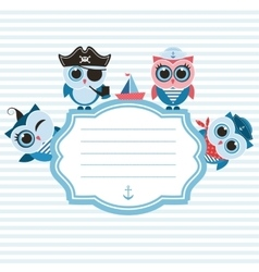 Frame with sailor owls vector image vector image