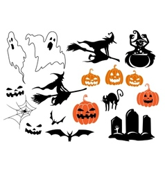 Halloween themed design elements and characters vector image vector image