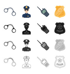 Handcuffs policeman in uniform walkie-talkie vector