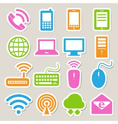 Icon set of mobile devices computer and network c vector