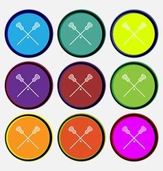 Lacrosse sticks crossed icon sign nine multi vector