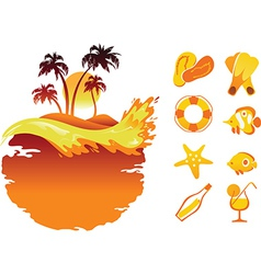 Landscape of Tropical Banners and Collection of Be vector image vector image