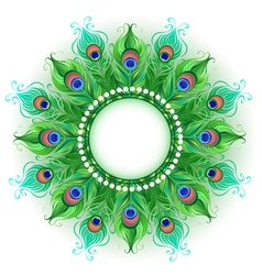 Mandala of green peacock feathers vector
