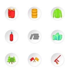 Outfit paintball icons set cartoon style vector image