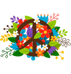 Peace symbol with flowers vector image vector image