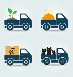 plants food animals and parcels delivery van vector image vector image