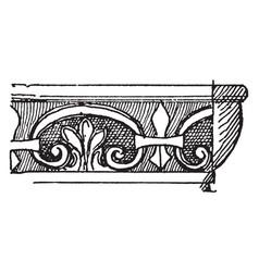 Pompeiian molding ceilings vintage engraving vector