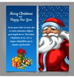Santa Claus with gifts on a blue background vector image vector image