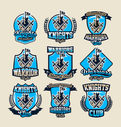 set of colorful logos emblems ancient fortress vector image vector image