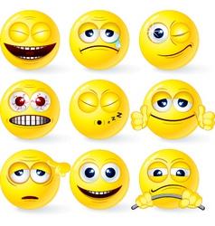 set of yellow smileys 3 vector image vector image