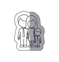 silhouette family with their son icon vector image
