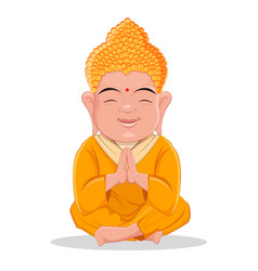 Sitting buddha cute colorful cartoon character vector