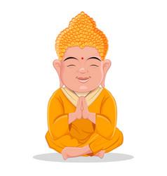 Sitting buddha cute colorful cartoon character vector