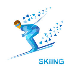 Skiing skier running downhill vector