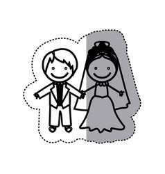 Sticker sketch silhouette caricature married vector