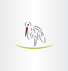 Stylized stork design element vector