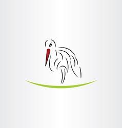 stylized stork design element vector image vector image