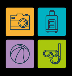 summer vacations set icons vector image