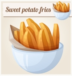 Sweet potato fries Detailed icon vector image vector image