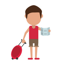 tourist traveler man luggage and map vector image vector image