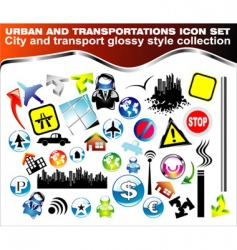 urban icon set vector image vector image