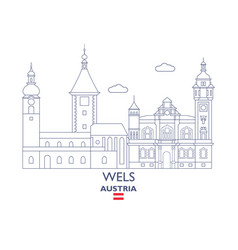 Wels city skyline vector